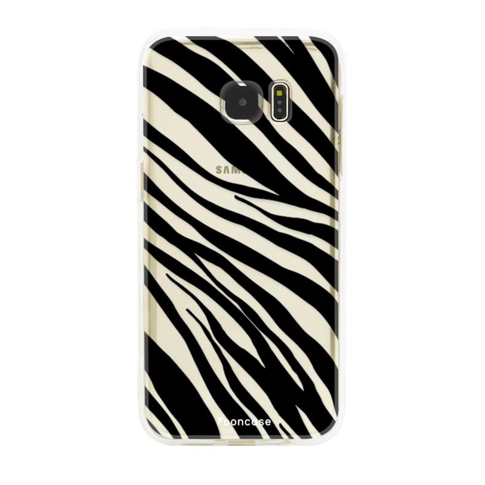FOONCASE Samsung Galaxy S7 Edge hoesje TPU Soft Case - Back Cover - Zebra print
