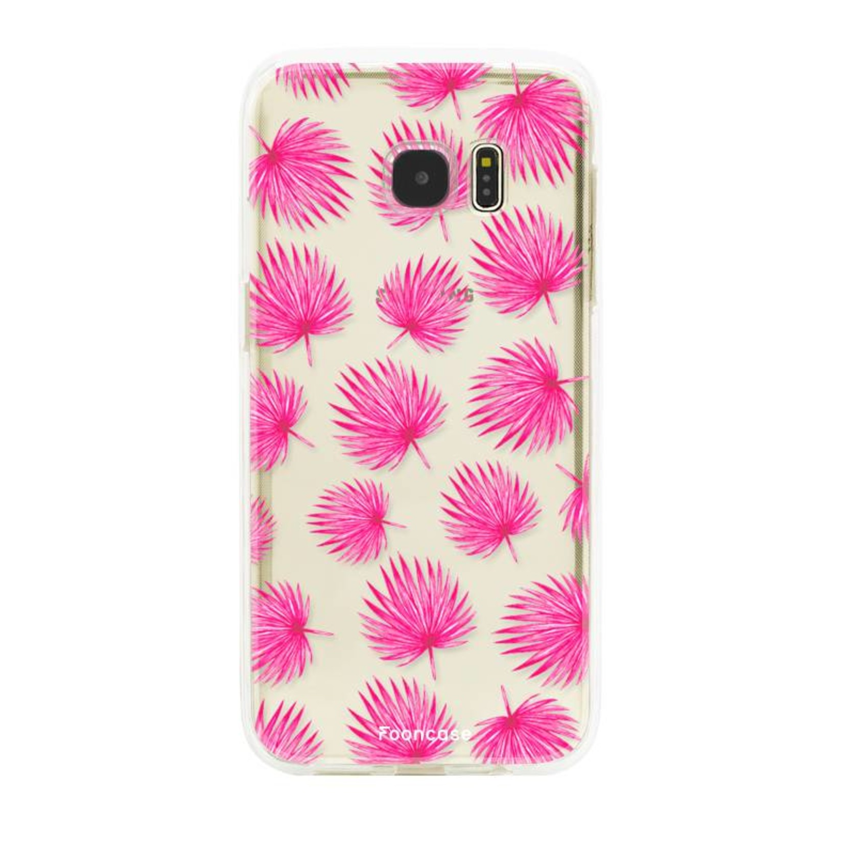 FOONCASE Samsung Galaxy S7 Edge hoesje TPU Soft Case - Back Cover - Pink leaves / Roze bladeren