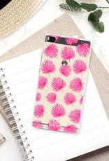Huawei Huawei P8 Handyhülle - Rosa Blätter