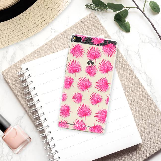 FOONCASE Huawei P8 hoesje TPU Soft Case - Back Cover - Pink leaves / Roze bladeren