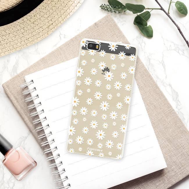FOONCASE Huawei P8 Lite 2016 hoesje TPU Soft Case - Back Cover - Madeliefjes