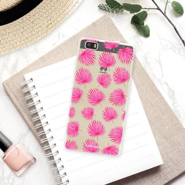 FOONCASE Huawei P8 Lite 2016 hoesje TPU Soft Case - Back Cover - Pink leaves / Roze bladeren
