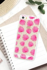FOONCASE iPhone 5 / 5S hoesje TPU Soft Case - Back Cover - Pink leaves / Roze bladeren