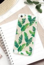 FOONCASE iPhone SE hoesje TPU Soft Case - Back Cover - Banana leaves / Bananen bladeren