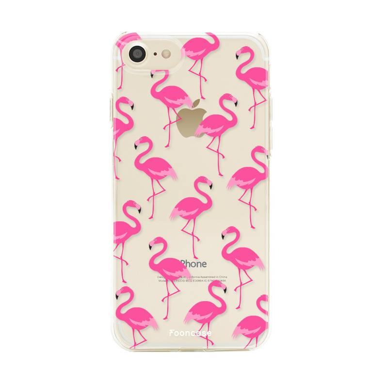FOONCASE iPhone 7 hoesje TPU Soft Case - Back Cover - Flamingo