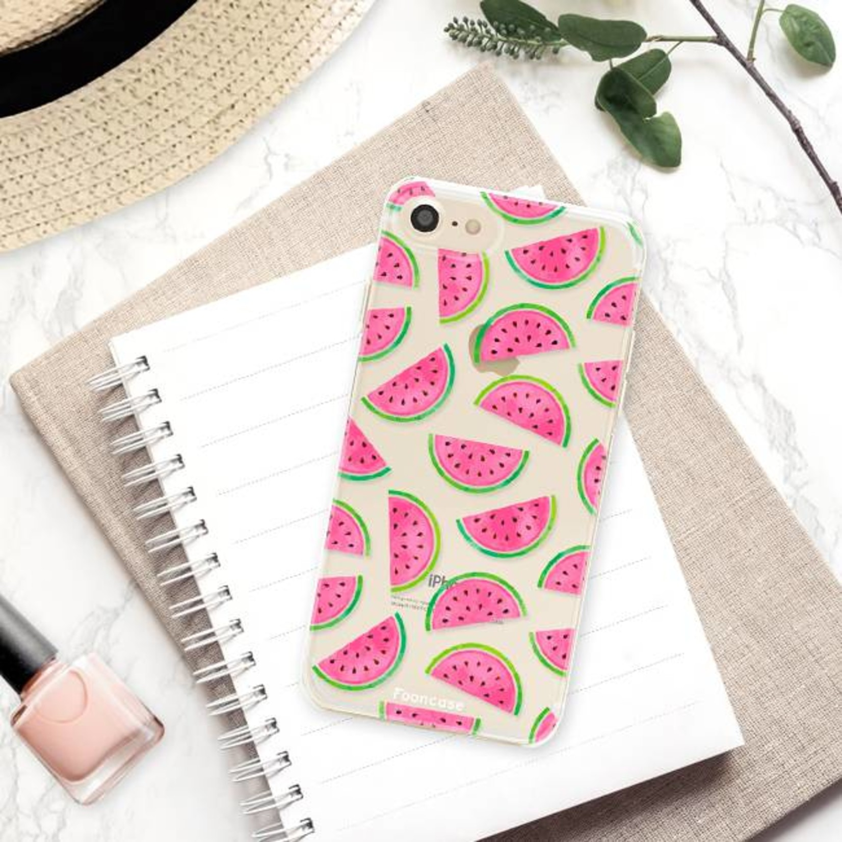 FOONCASE iPhone 7 hoesje TPU Soft Case - Back Cover - Watermeloen
