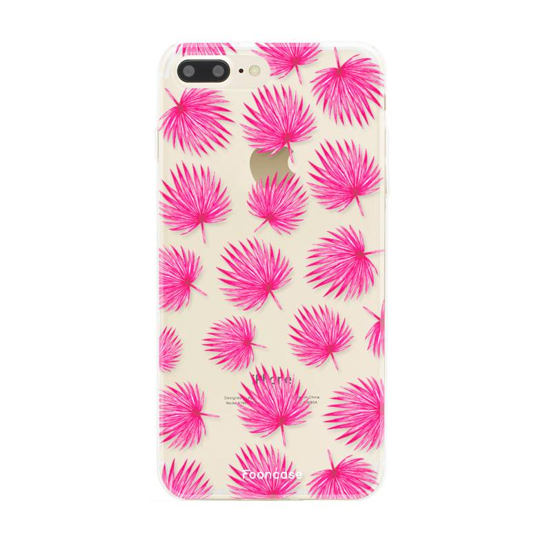 FOONCASE iPhone 7 Plus hoesje TPU Soft Case - Back Cover - Pink leaves / Roze bladeren
