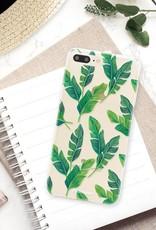 FOONCASE iPhone 7 Plus hoesje TPU Soft Case - Back Cover - Banana leaves / Bananen bladeren