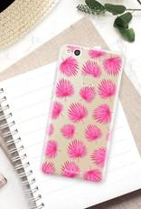 FOONCASE Huawei P10 Lite hoesje TPU Soft Case - Back Cover - Pink leaves / Roze bladeren