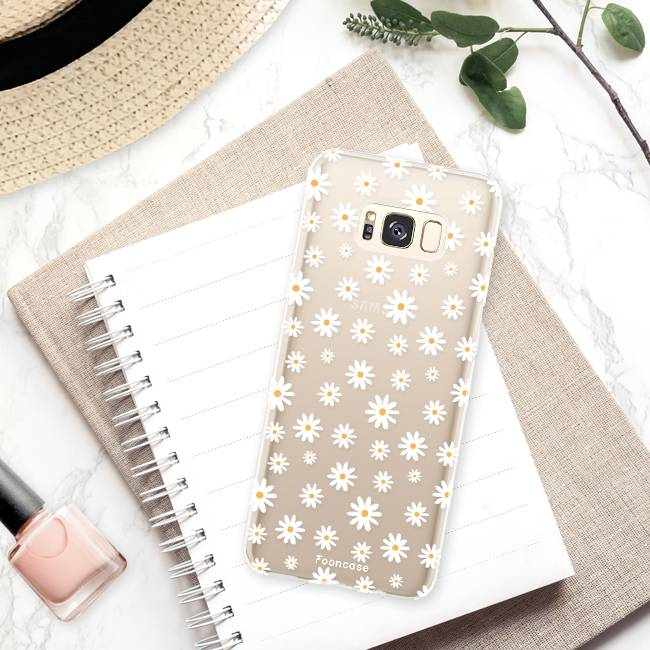FOONCASE Samsung Galaxy S8 hoesje TPU Soft Case - Back Cover - Madeliefjes