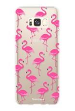 FOONCASE Samsung Galaxy S8 hoesje TPU Soft Case - Back Cover -  Flamingo