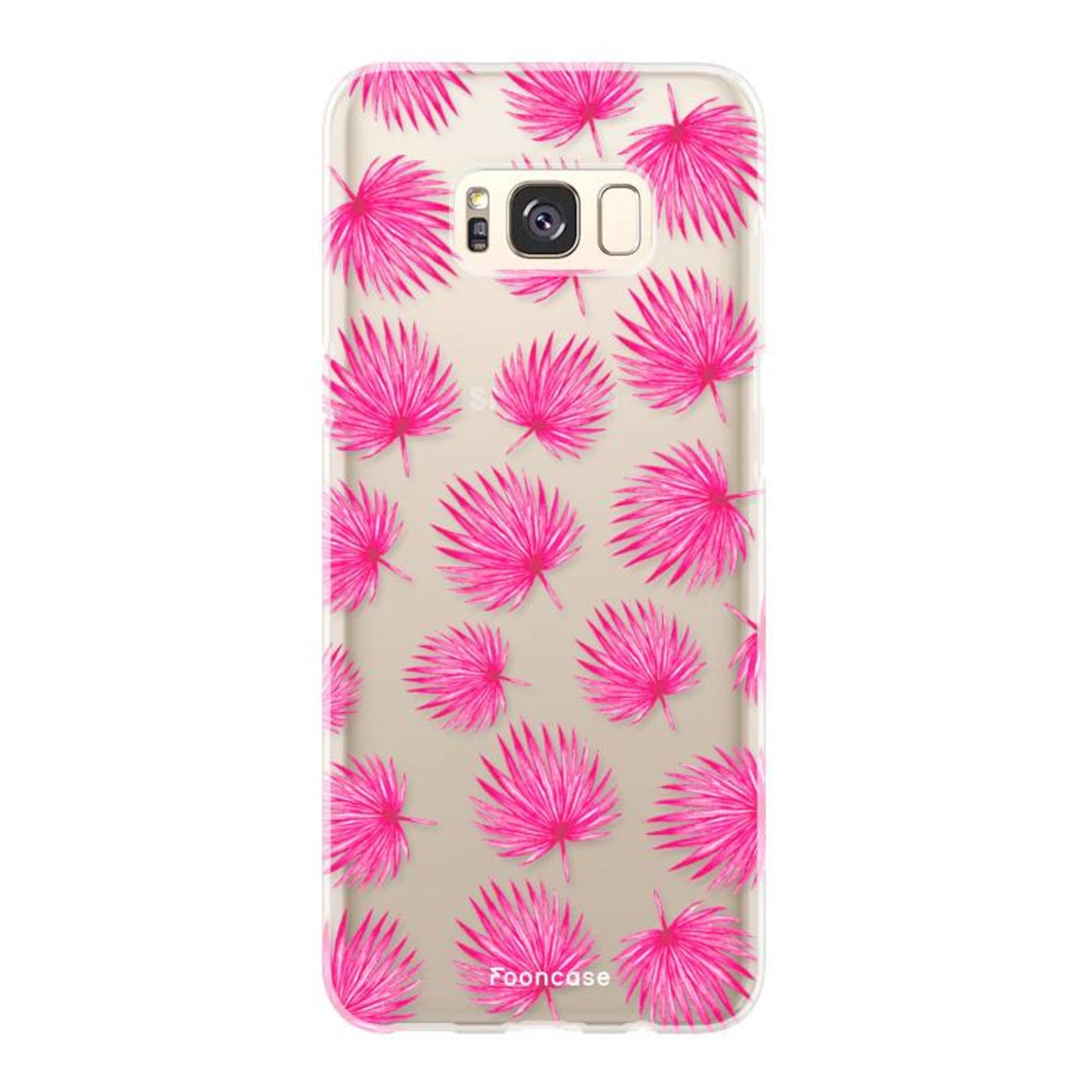FOONCASE Samsung Galaxy S8 Handyhülle - Rosa Blätter