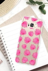 FOONCASE Samsung Galaxy S8 hoesje TPU Soft Case - Back Cover - Pink leaves / Roze bladeren