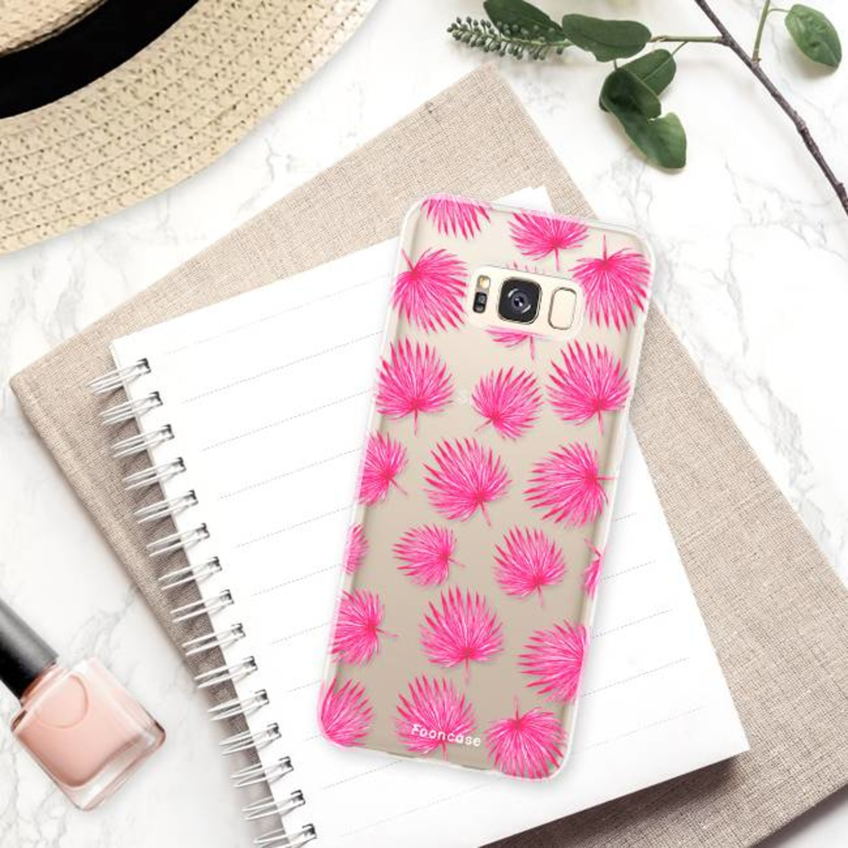 FOONCASE Samsung Galaxy S8 Plus hoesje TPU Soft Case - Back Cover - Pink leaves / Roze bladeren