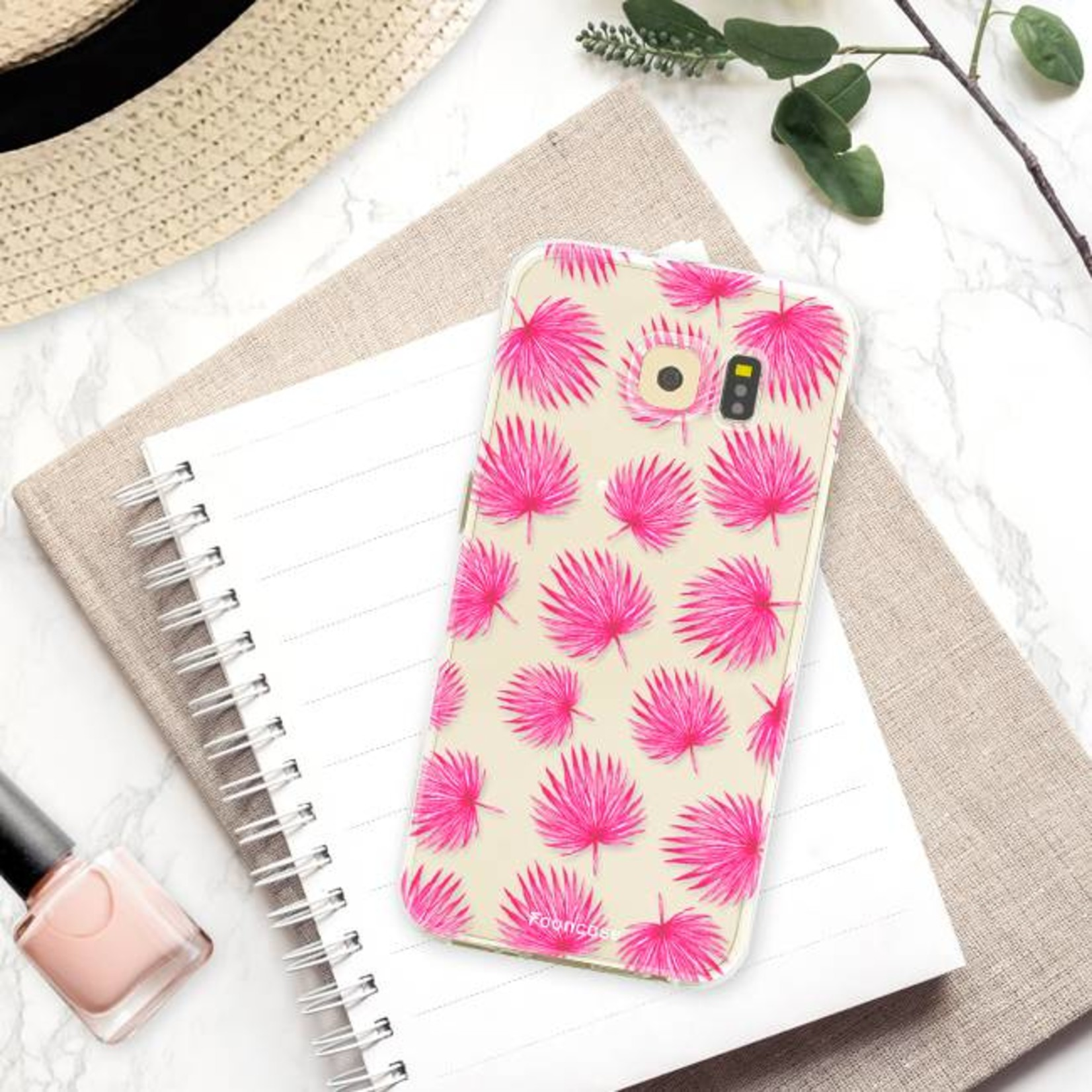 FOONCASE Samsung Galaxy S6 hoesje TPU Soft Case - Back Cover - Pink leaves / Roze bladeren