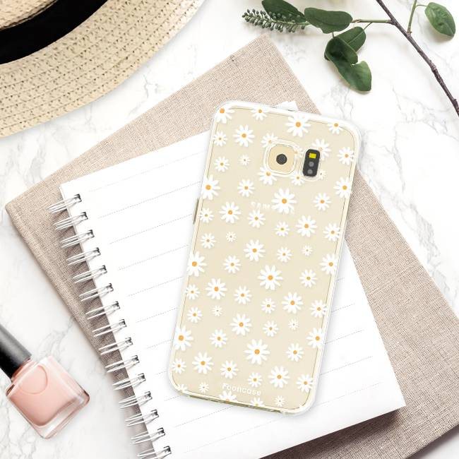 FOONCASE Samsung Galaxy S6 hoesje TPU Soft Case - Back Cover - Madeliefjes