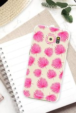 FOONCASE Samsung Galaxy S6 Edge hoesje TPU Soft Case - Back Cover - Pink leaves / Roze bladeren