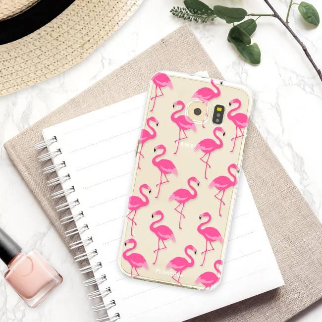 FOONCASE Samsung Galaxy S6 Edge hoesje TPU Soft Case - Back Cover - Flamingo