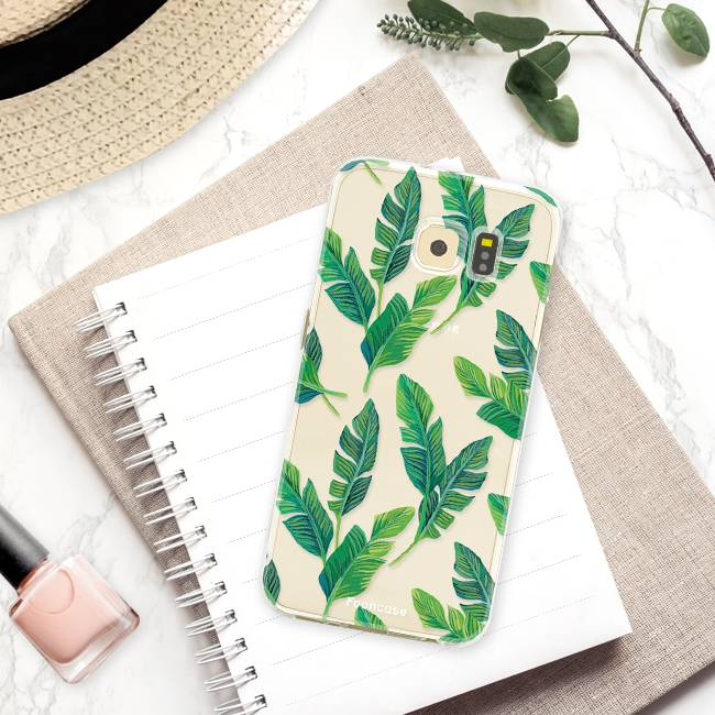 FOONCASE Samsung Galaxy S6 Edge hoesje TPU Soft Case - Back Cover - Banana leaves / Bananen bladeren