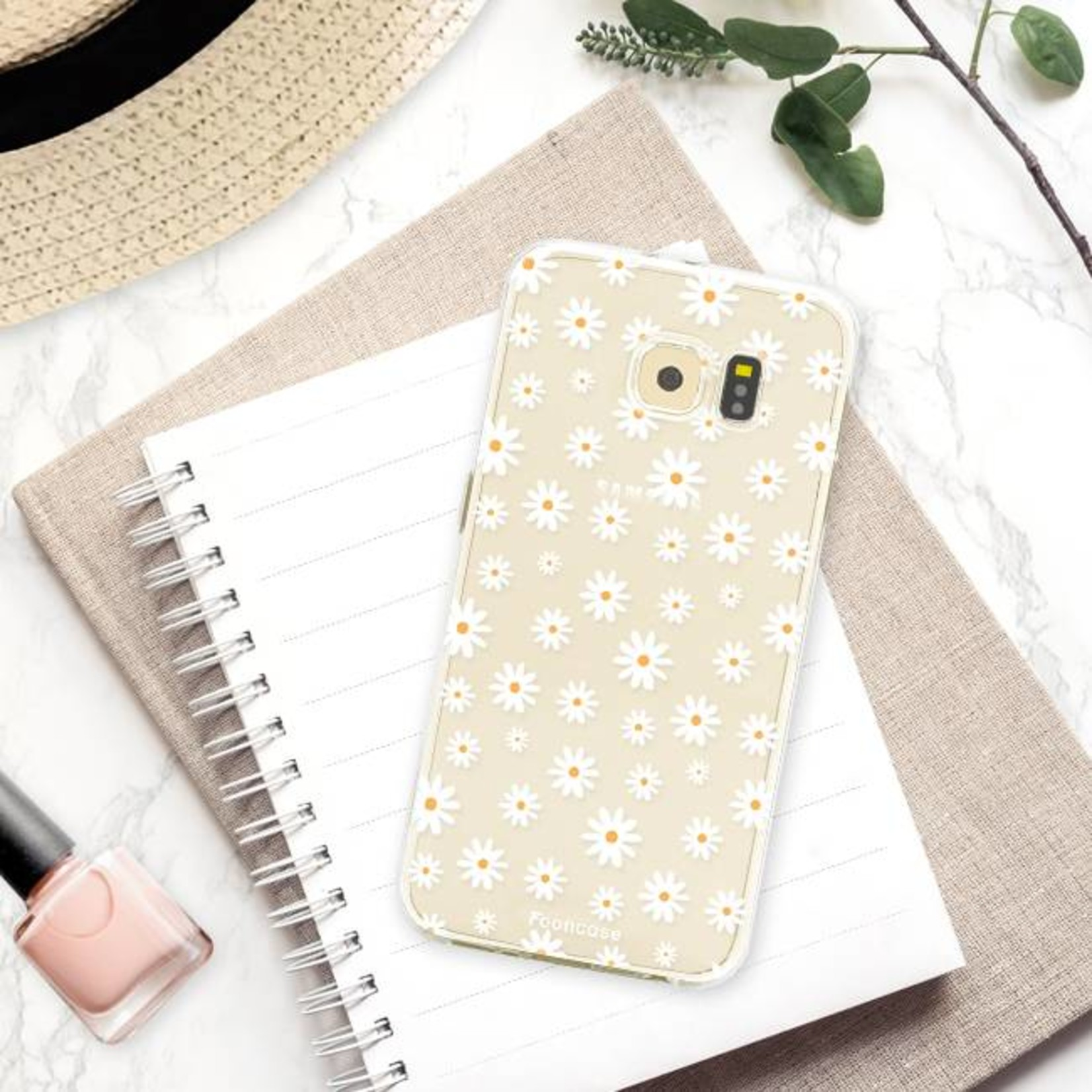 FOONCASE Samsung Galaxy S6 Edge hoesje TPU Soft Case - Back Cover - Madeliefjes