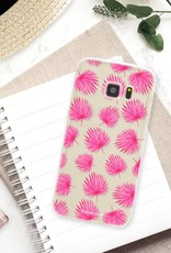 FOONCASE Samsung Galaxy S7 hoesje TPU Soft Case - Back Cover - Pink leaves / Roze bladeren