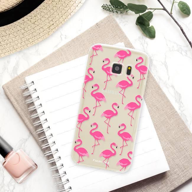 FOONCASE Samsung Galaxy S7 hoesje TPU Soft Case - Back Cover - Flamingo
