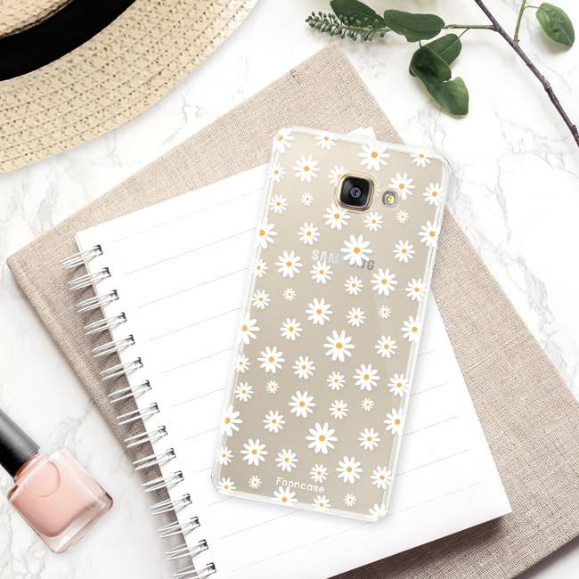 FOONCASE Samsung Galaxy A3 2016 hoesje TPU Soft Case - Back Cover - Madeliefjes