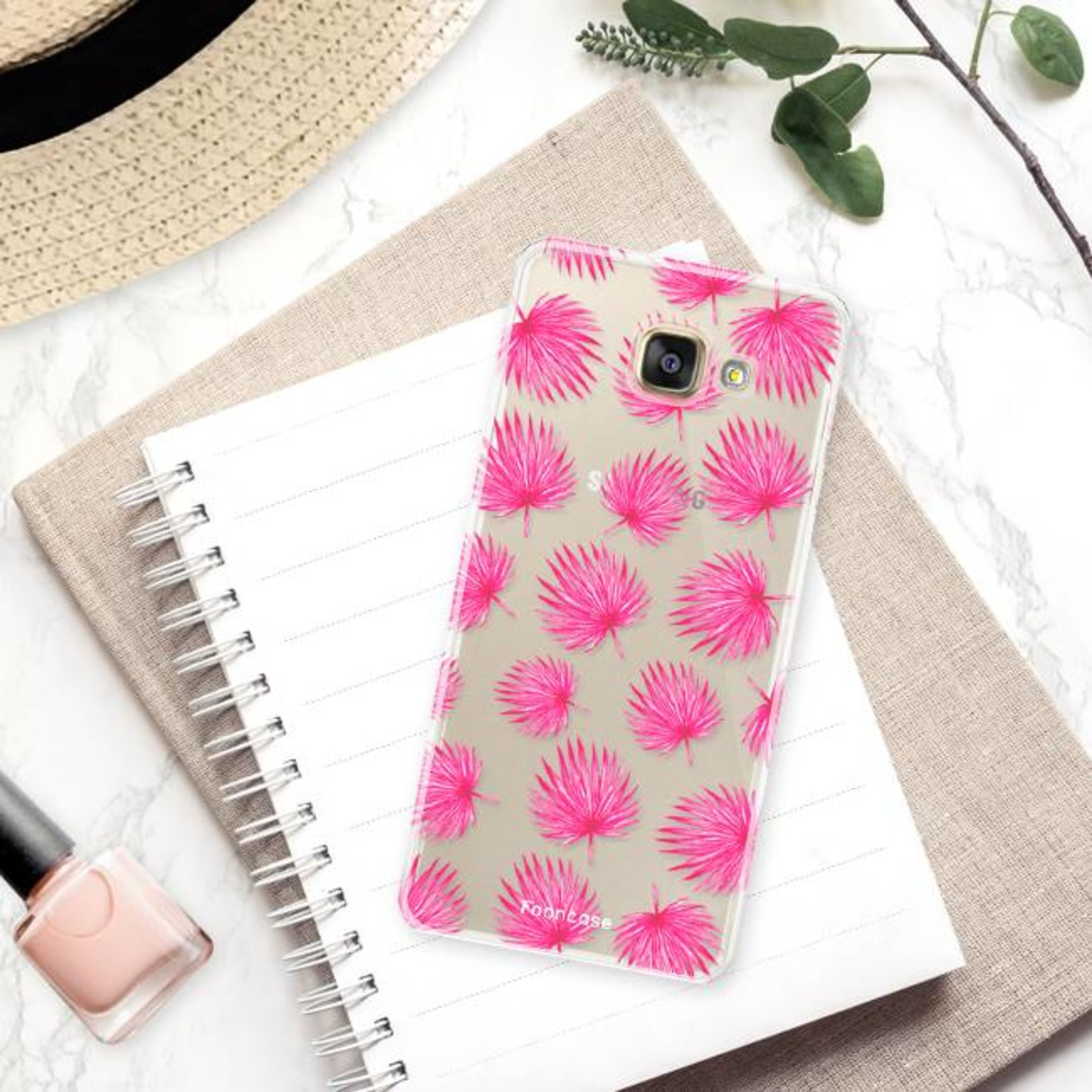 FOONCASE Samsung Galaxy A5 2016 hoesje TPU Soft Case - Back Cover - Pink leaves / Roze bladeren