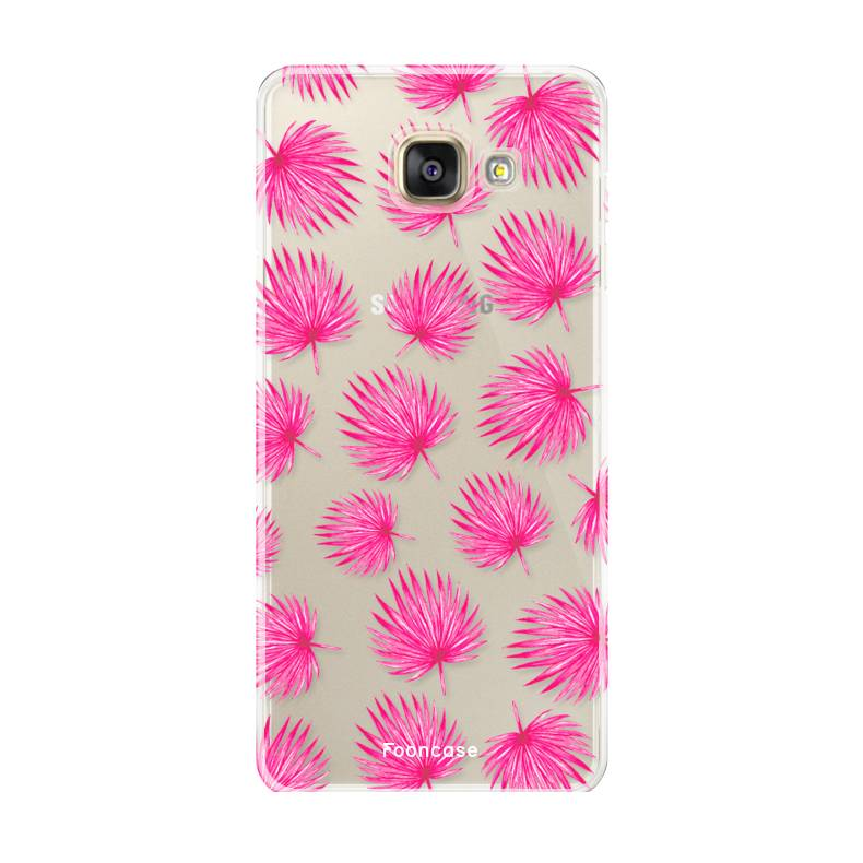 FOONCASE Samsung Galaxy A5 2017 hoesje TPU Soft Case - Back Cover - Pink leaves / Roze bladeren