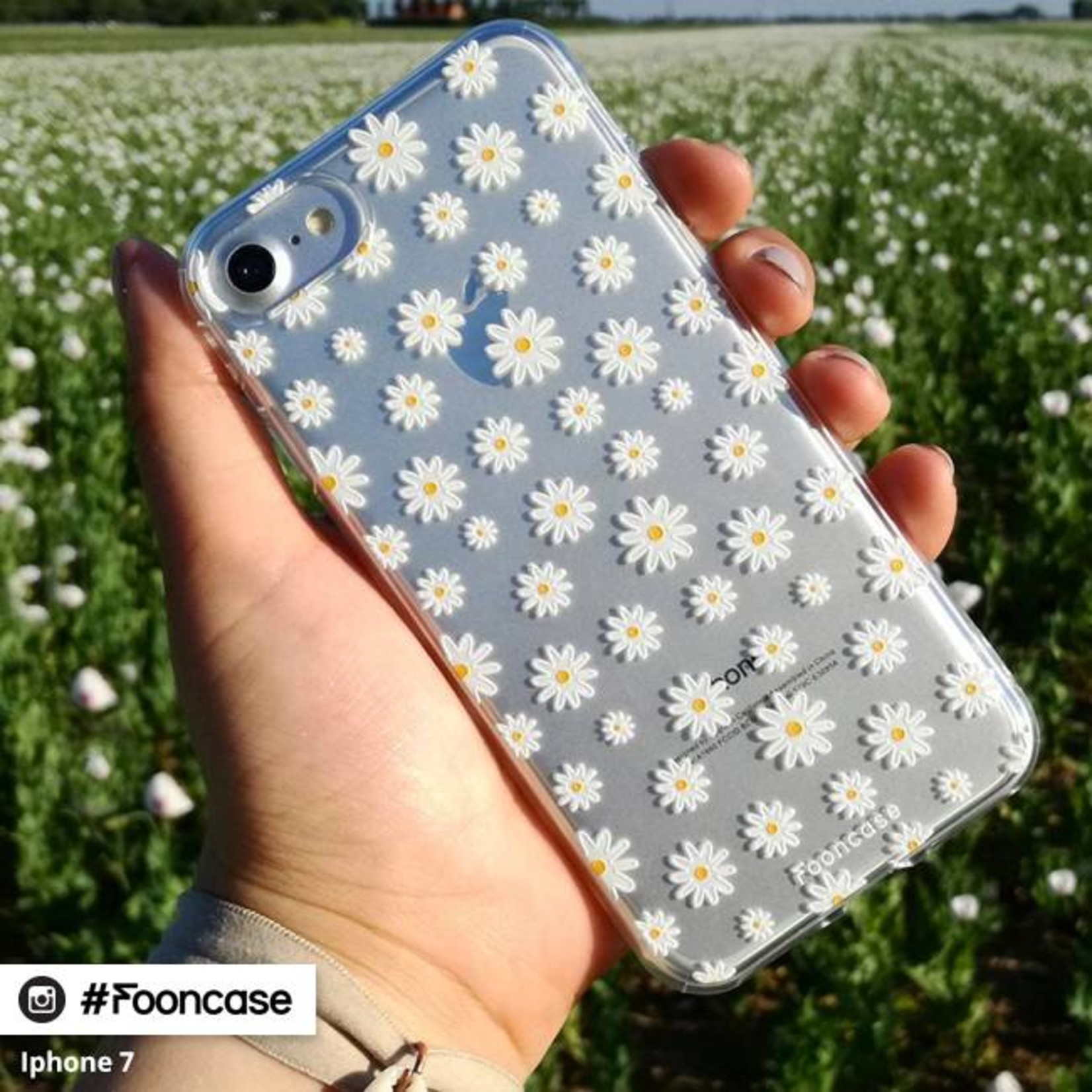FOONCASE Samsung Galaxy S8 Plus hoesje TPU Soft Case - Back Cover - Madeliefjes