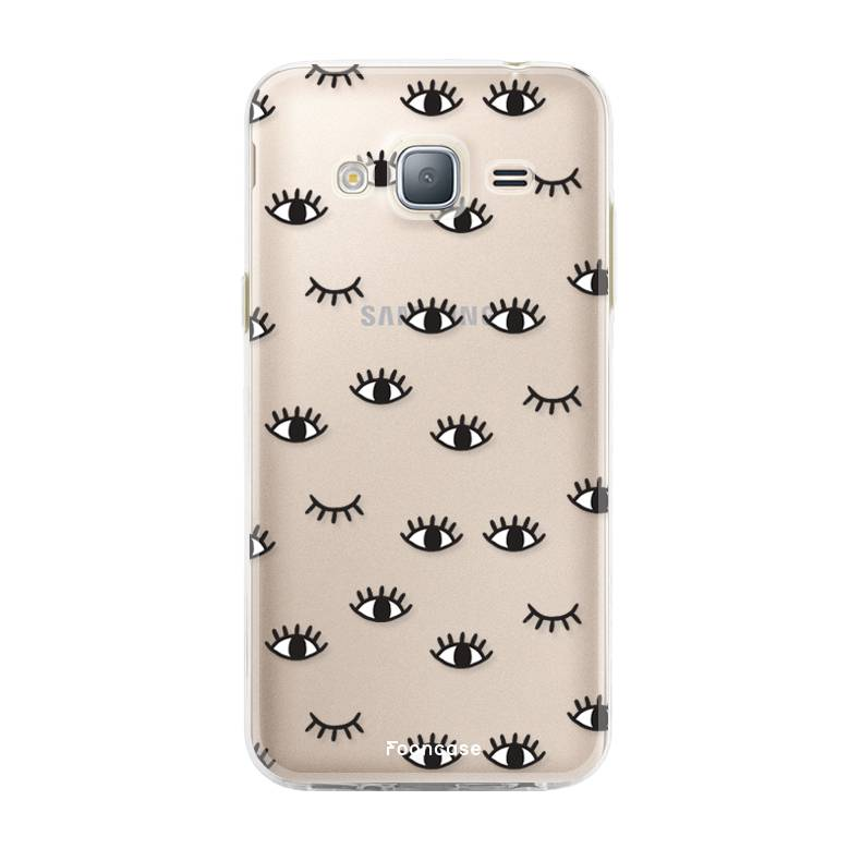 FOONCASE Samsung Galaxy J3 2016 hoesje TPU Soft Case - Back Cover - Eyes / Ogen