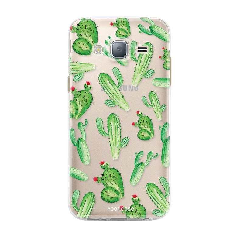 FOONCASE Samsung Galaxy J3 2016 hoesje TPU Soft Case - Back Cover - Cactus
