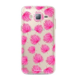 FOONCASE Samsung Galaxy J3 2016 - Pink leaves