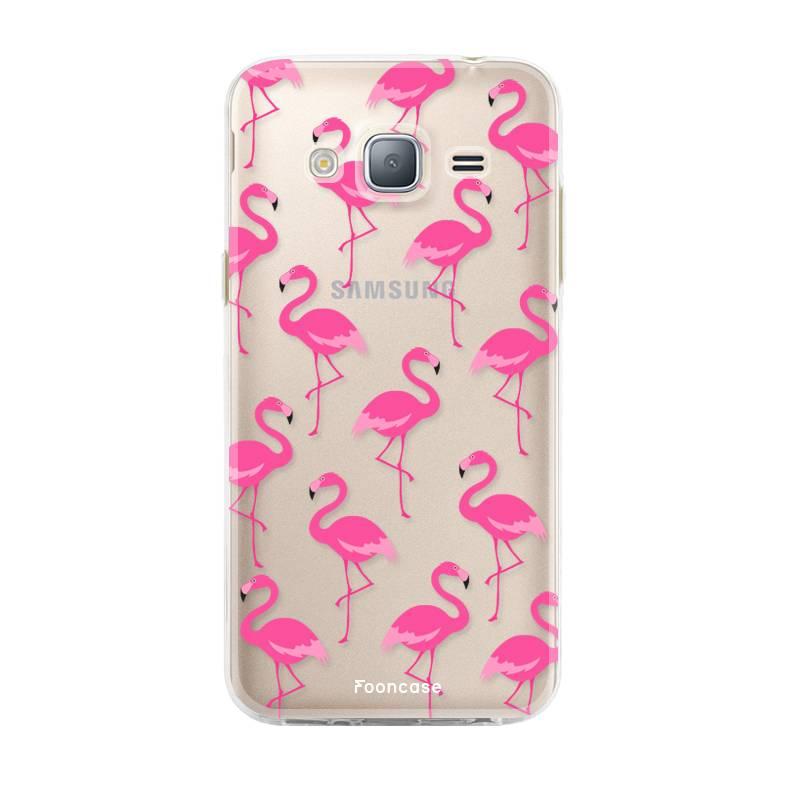 FOONCASE Samsung Galaxy J3 2016 hoesje TPU Soft Case - Back Cover - Flamingo
