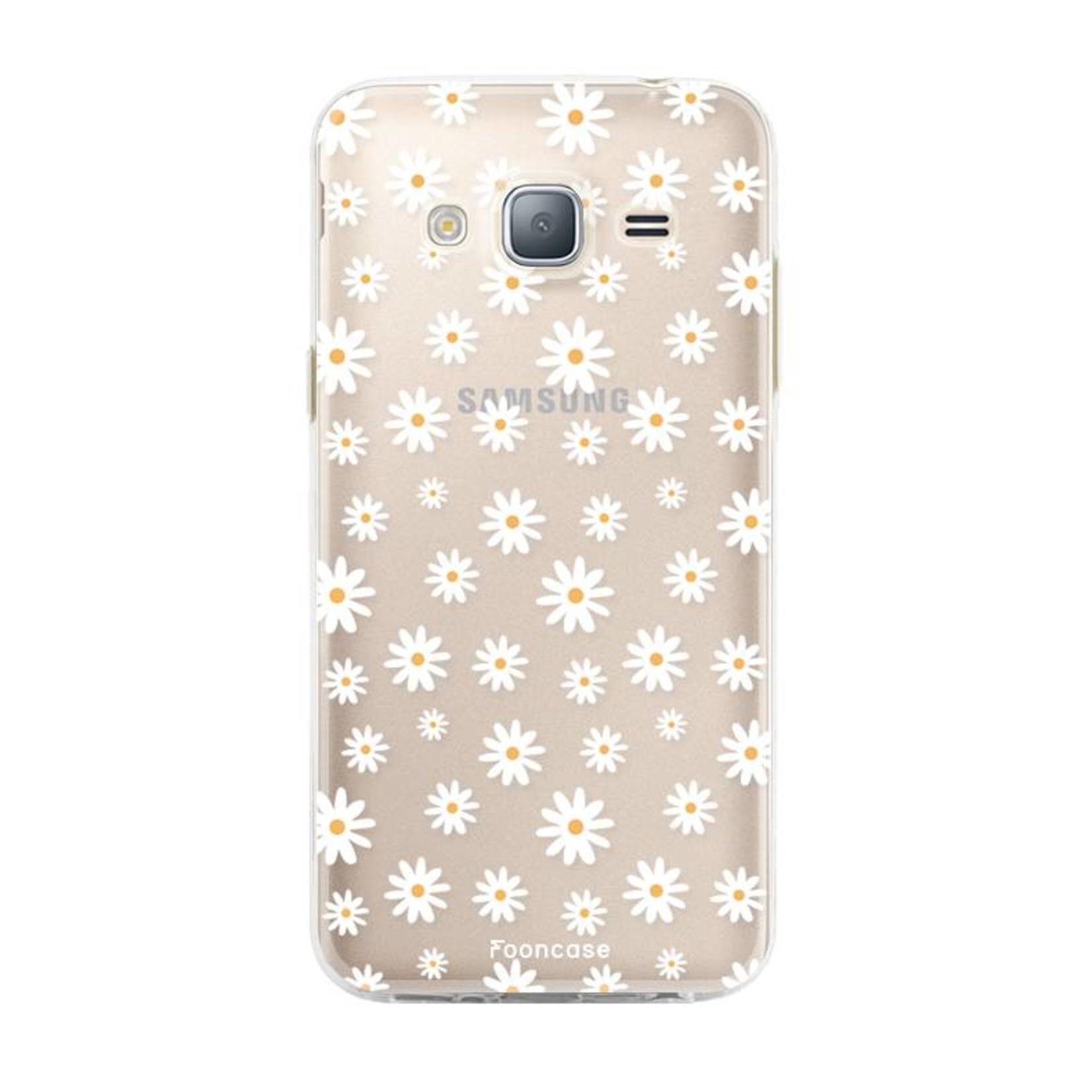 FOONCASE Samsung Galaxy J3 2016 hoesje TPU Soft Case - Back Cover - Madeliefjes