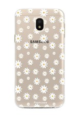 FOONCASE Samsung Galaxy J3 2017 hoesje TPU Soft Case - Back Cover - Madeliefjes