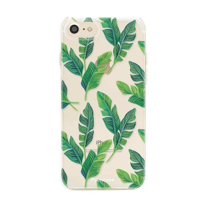 FOONCASE iPhone 8 hoesje TPU Soft Case - Back Cover - Banana leaves / Bananen bladeren