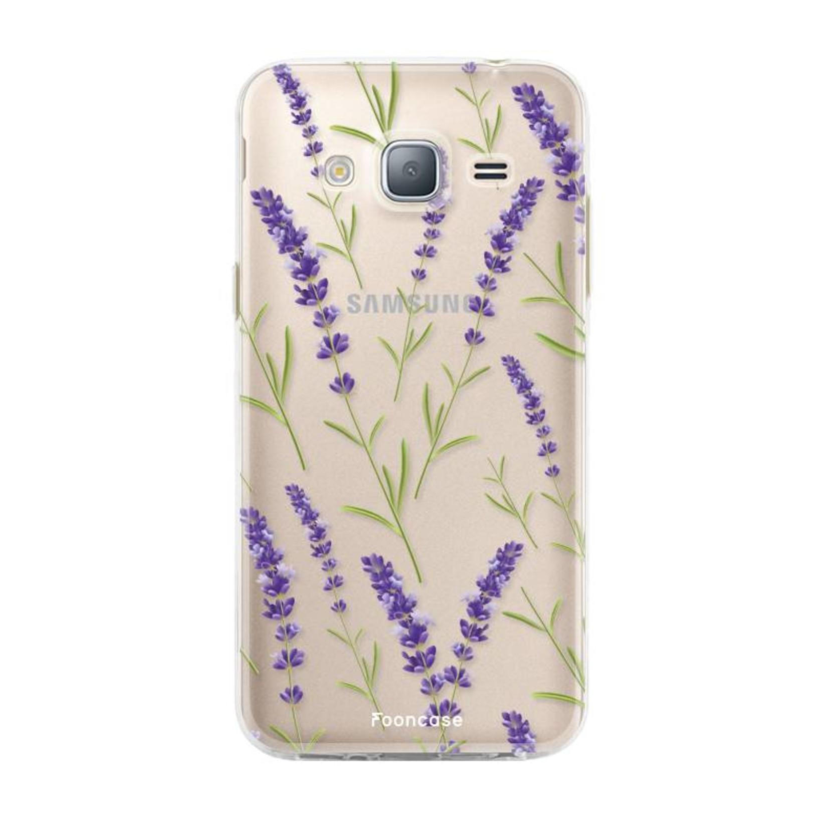 FOONCASE Samsung Galaxy J3 2016 hoesje TPU Soft Case - Back Cover - Purple Flower / Paarse bloemen