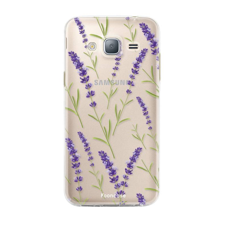 FOONCASE Samsung Galaxy J3 2016 hoesje TPU Soft Case - Back Cover - Purple Flower / Paarse bloemen
