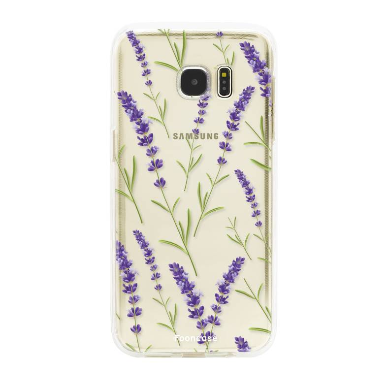 FOONCASE Samsung Galaxy S7 Edge hoesje TPU Soft Case - Back Cover - Purple Flower / Paarse bloemen