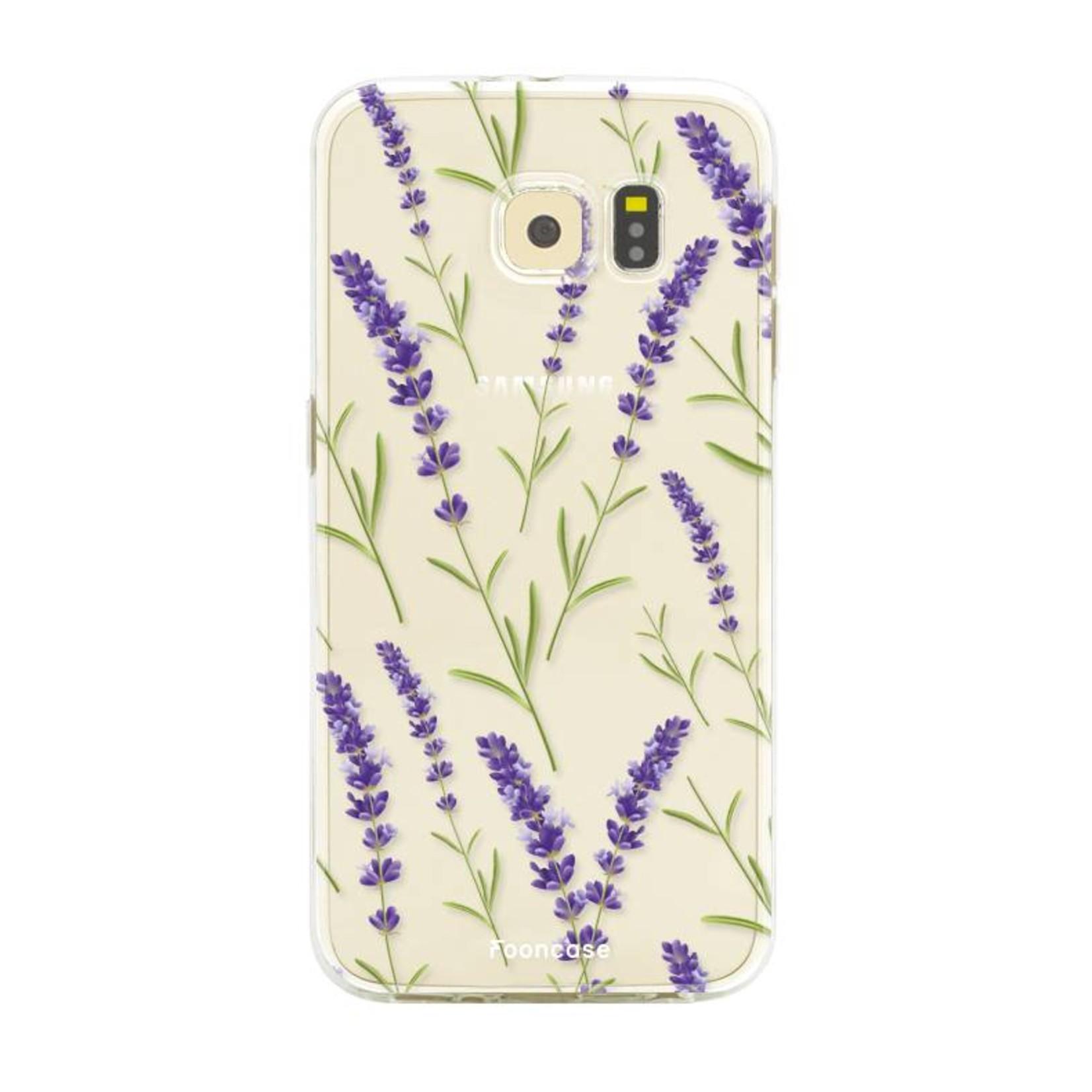 FOONCASE Samsung Galaxy S6 Edge hoesje TPU Soft Case - Back Cover - Purple Flower / Paarse bloemen