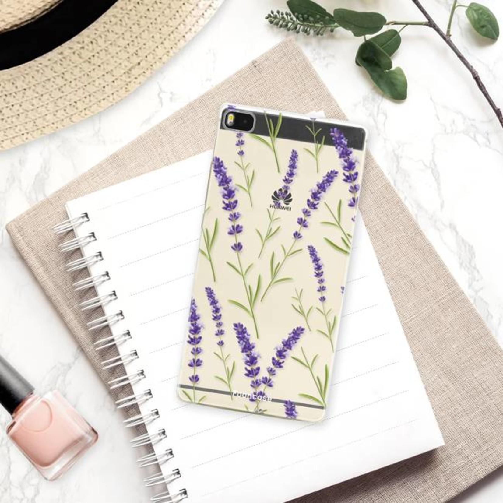 FOONCASE Huawei P8 hoesje TPU Soft Case - Back Cover - Purple Flower / Paarse bloemen