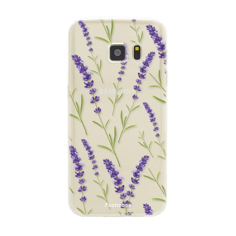 FOONCASE Samsung Galaxy S7 hoesje TPU Soft Case - Back Cover - Purple Flower / Paarse bloemen