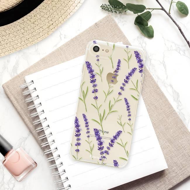 FOONCASE iPhone 8 hoesje TPU Soft Case - Back Cover - Purple Flower / Paarse bloemen