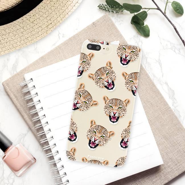 FOONCASE iPhone 7 Plus hoesje TPU Soft Case - Back Cover - Cheeky Leopard / Luipaard hoofden