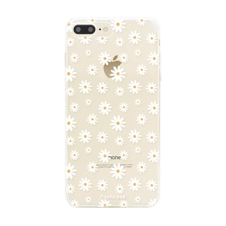 FOONCASE iPhone 8 Plus hoesje TPU Soft Case - Back Cover - Madeliefjes