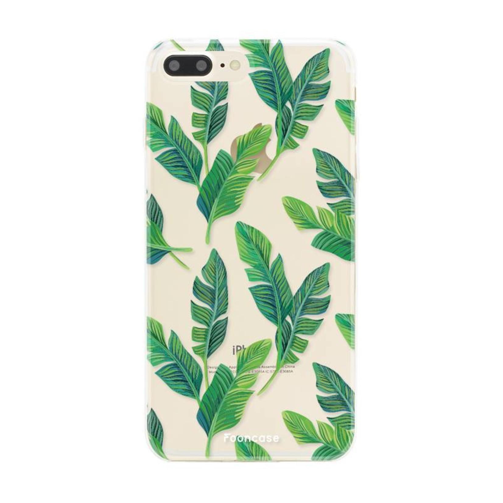 FOONCASE iPhone 8 Plus hoesje TPU Soft Case - Back Cover - Banana leaves / Bananen bladeren