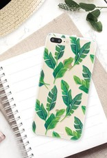 FOONCASE iPhone 8 Plus hoesje TPU Soft Case - Back Cover - Banana leaves / Bananen bladeren