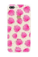 FOONCASE iPhone 8 Plus hoesje TPU Soft Case - Back Cover - Pink leaves / Roze bladeren