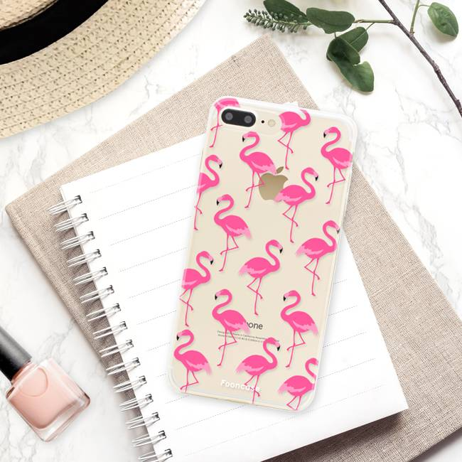 FOONCASE iPhone 8 Plus hoesje TPU Soft Case - Back Cover - Flamingo